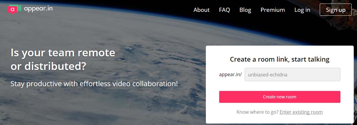 Página de inicio de la web de Appear.in