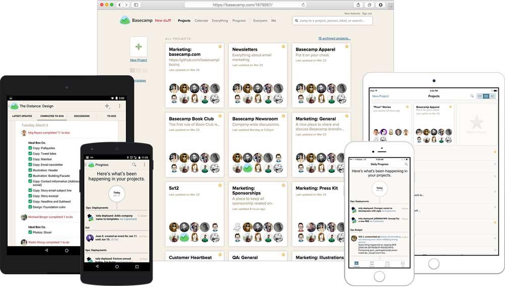 Interfaz de la herramienta de productividad Basecamp