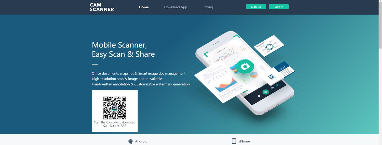 Página de inicio de la web de CamScanner