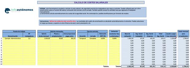 Imagen Plantilla Cálculo de costes salariales