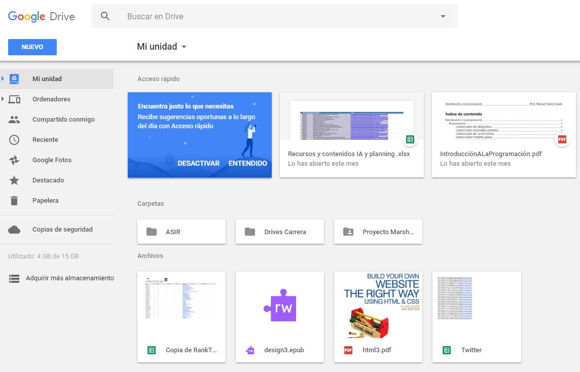 Interfaz de la herramienta de productividad Google Drive