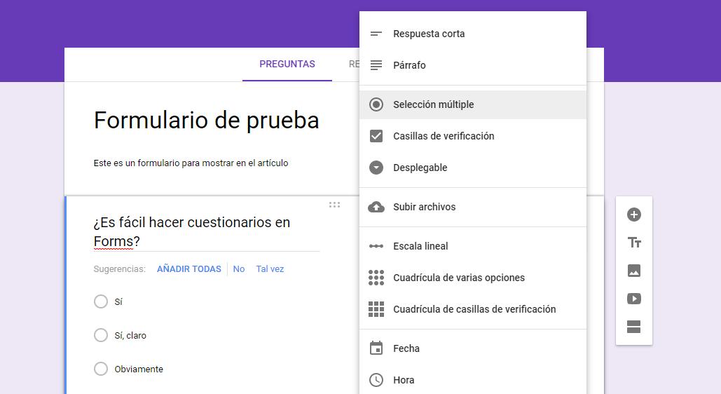 Ejemplo de una pregunta en Google Forms