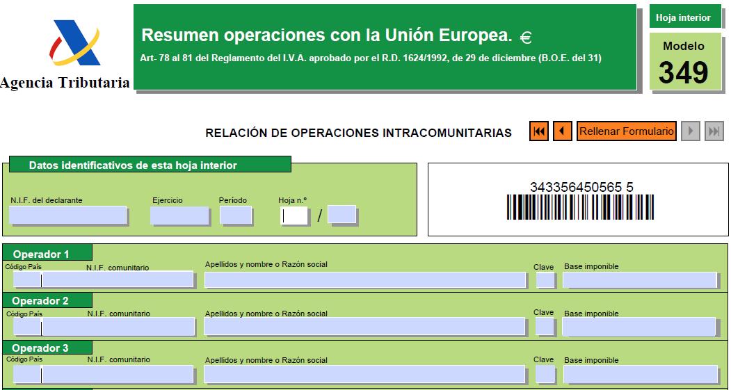 Modelo 349: Resumen de operaciones intracomunitarias