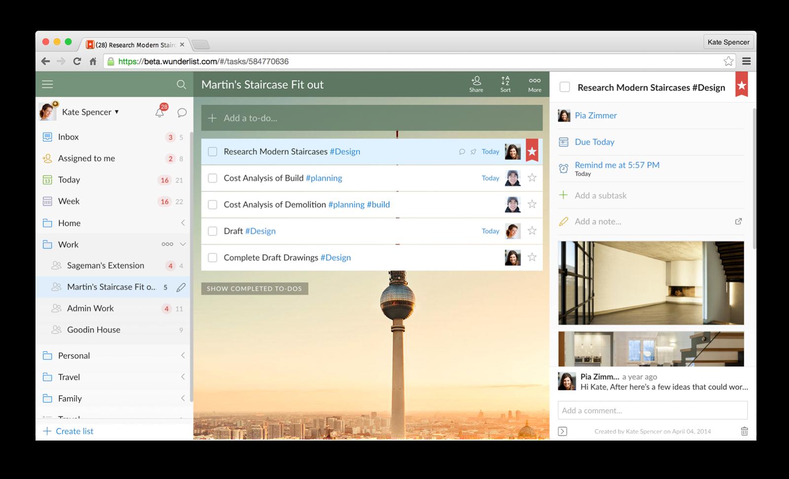 Interfaz de la herramienta de productividad Wunderlist