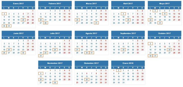 Calendario fiscal 2017 del autónomo y la pyme
